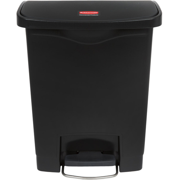Rubbermaid Slim Jim 8 Gallon Step On Resin Front Step, Black
