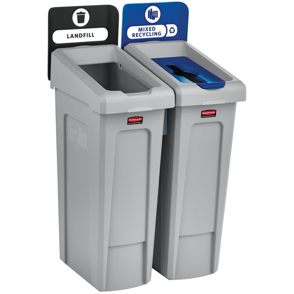 Rubbermaid Slim Jim Recycling Station 2 Stream, Landfill/ Mixed Recycling