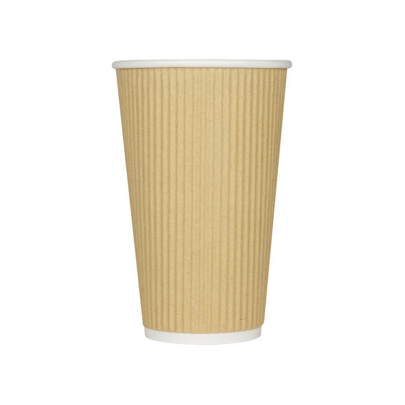 Karat 16oz Ripple Paper Hot Cup, Kraft