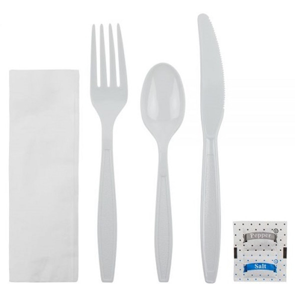 Karat PS Plastic Heavy Weight Cutlery Kits with Salt and Pepper, White