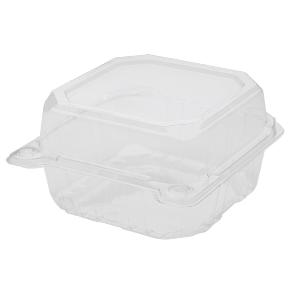 "Karat 6"" x 6"" PET Hinged Container, Clear"