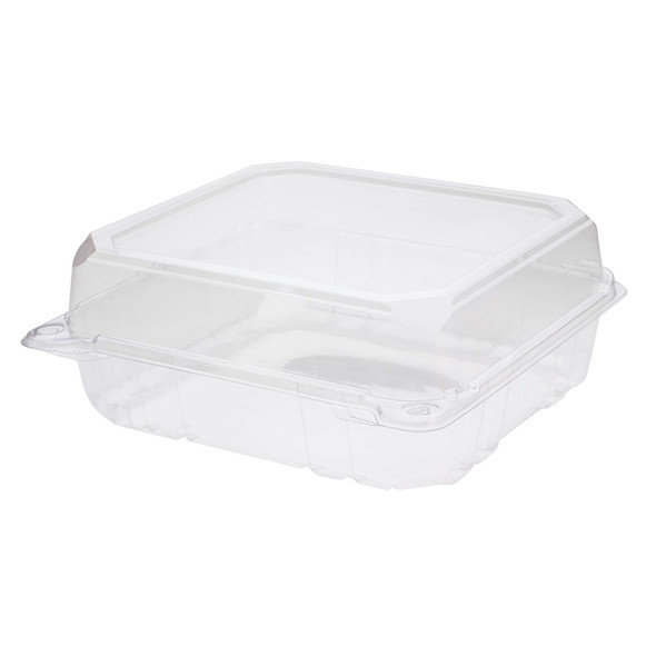 "Karat 8"" x 8"" PET Hinged Container, Clear"