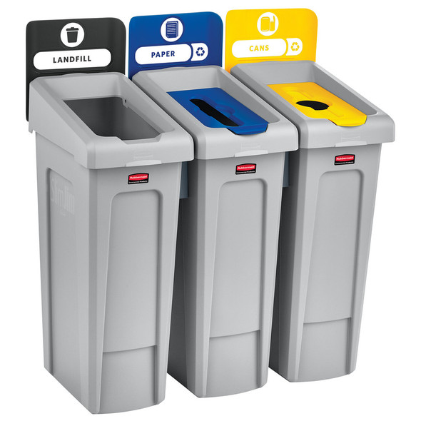 Rubbermaid Slim Jim Recycling Station 3 Stream, Landfill/ Paper/ Cans