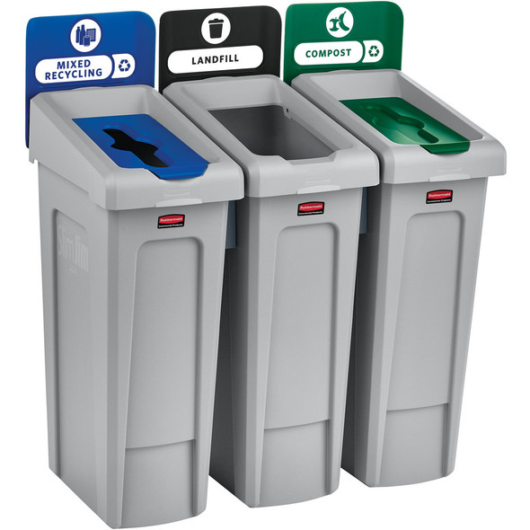 Rubbermaid Slim Jim Recycling Station 3 Stream, Landfill/ Mixed Recycling/ Compost