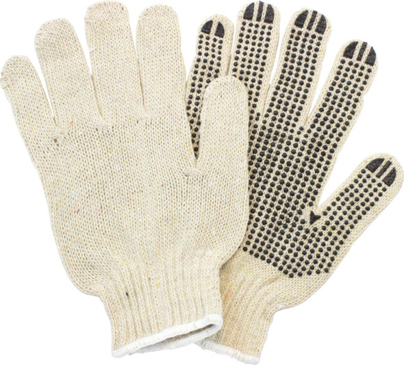 GSBS-MN-2C-20 Mens Cotton Polyester String Knit with 1 Sided PVC Dotted Grip Gloves