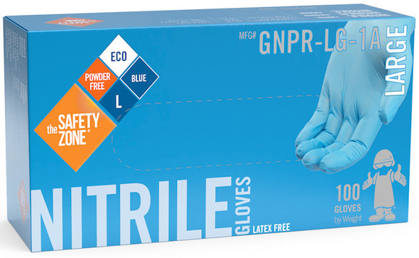 The Safety Zone 3 mil Nitrile Gloves, Powder Free, Blue, Large