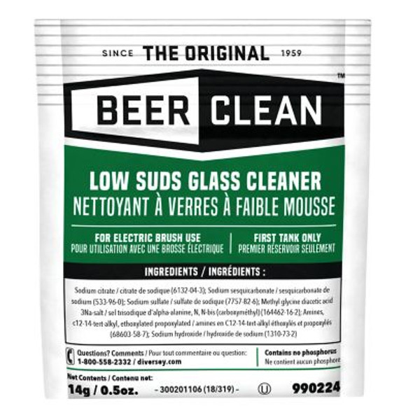 Diversey Beer Clean Low Suds Glass Cleaner, 0.5 oz. Packet