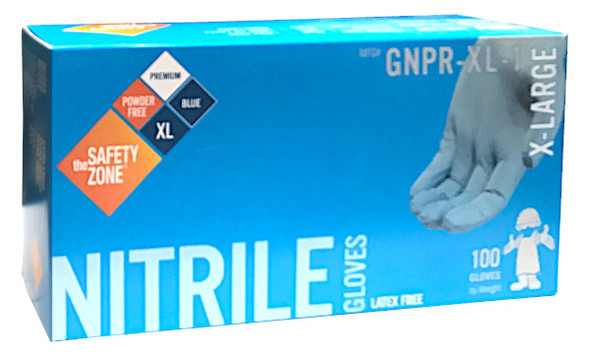 The Safety Zone 6.8 mil Nitrile Gloves, Powder Free, Blue, X-Large