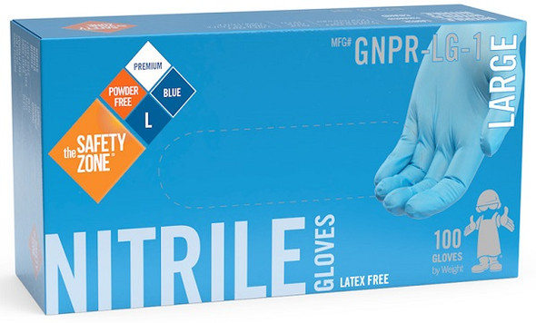 The Safety Zone 6.8 mil Nitrile Gloves, Powder Free, Blue, Large