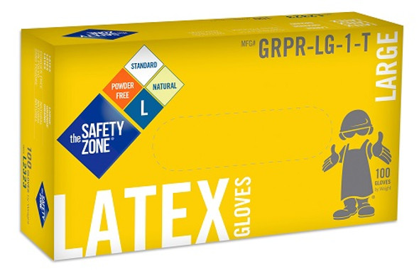 The Safety Zone 5 mil Latex Gloves, Powder Free, Natural, Large
