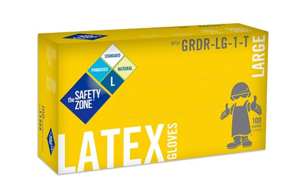The Safety Zone 5 mil Latex Gloves, Powdered, Natural, Large
