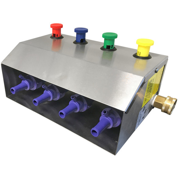 4 product, stainless steel mixing station with four push button actuators