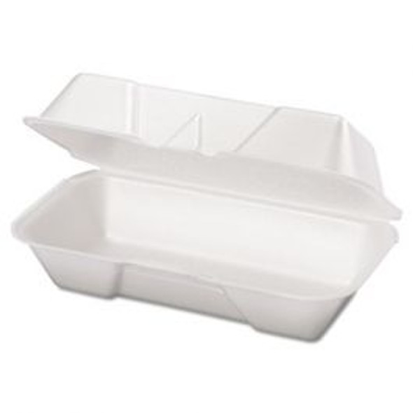 "Genpak 8 1/2"" x 4"" x 3"" White Medium Hinged Lid Foam Hoagie Container"