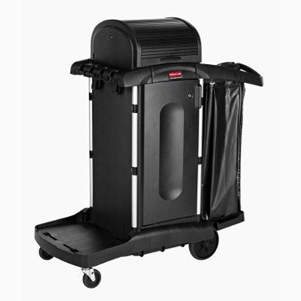 Rubbermaid Executive High Security Janitorial Cleaning Cart with Doors and Hood, Black