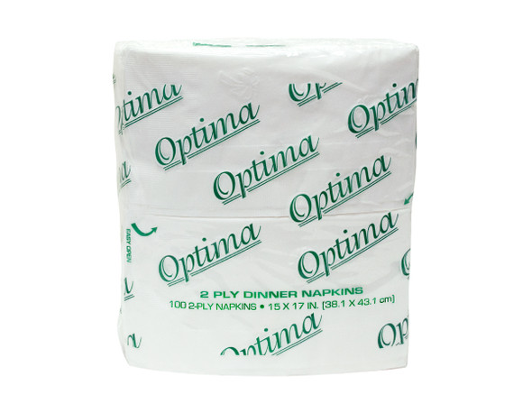 "Optima 15"" x 17"" 2-Ply Soft Bright White 1/8 Fold Dinner Napkin"