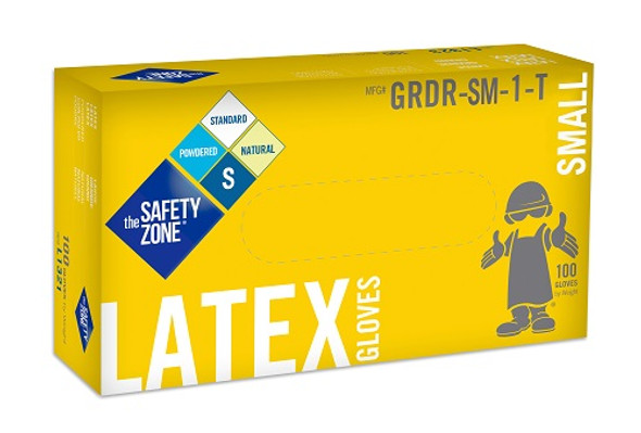 The Safety Zone 5 mil Latex Gloves, Powdered, Natural, Small