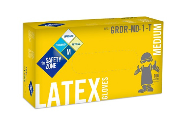 The Safety Zone 5 mil Latex Gloves, Powdered, Natural, Medium
