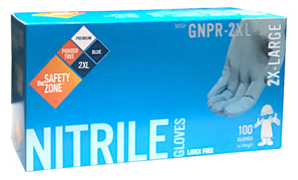 The Safety Zone 6.8 mil Nitrile Gloves, Powder Free, Blue, 2X-Large
