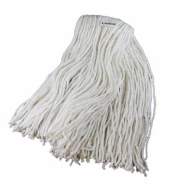 "Maintex Cut End White Rayon Finish Mop, 1 1/4"" Headband, Large"