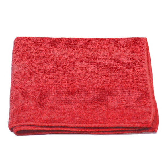 """A & A Wiping 16"""" x 16"""" Microfiber Cloth, Red"""