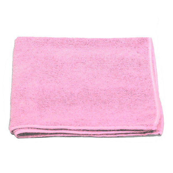 """A & A Wiping 16"""" x 16"""" Microfiber Cloth, Pink"""