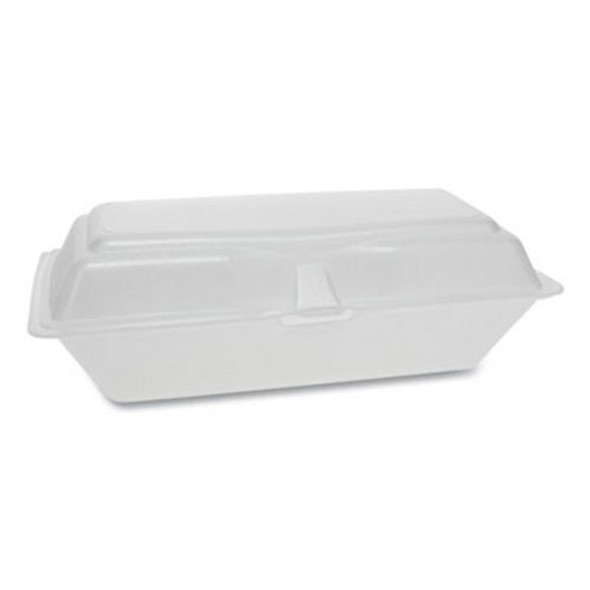 "Pactiv Foam Smartlock Hoagie Hinged Lid Container, 9.75"" x 5"" x 3.25"", White"