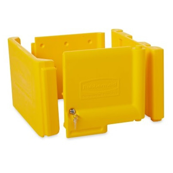 Rubbermaid Locking Cabinet Door Kit for Traditional Janitorial Cleaning Carts, Yellow