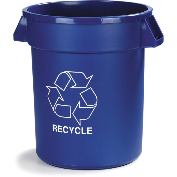 Carlisle Bronco Round 32 Gallon RECYCLE Container, Blue