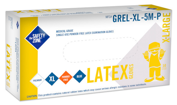 """The Safety Zone 13 mil Latex 12"""" Medical Gloves, Powder Free, Blue, X-Large"""