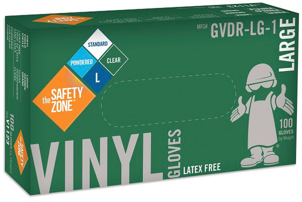 The Safety Zone 3.6 mil Vinyl Gloves, Powdered, Clear, Large
