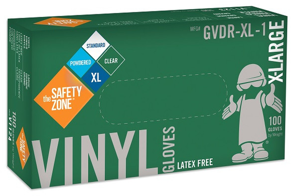 The Safety Zone 3.6 mil Vinyl Gloves, Powdered, Clear, X-Large