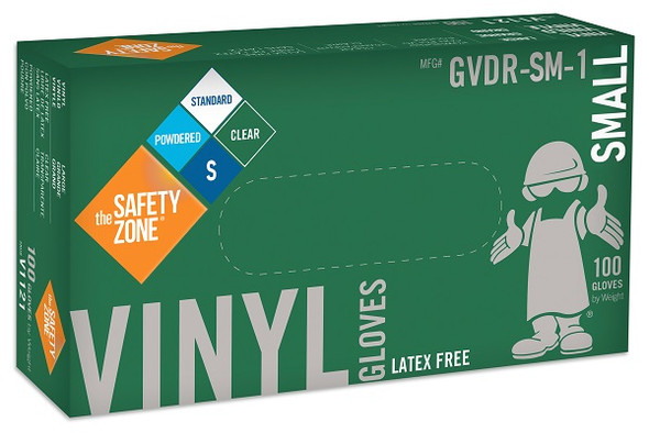 The Safety Zone 3.6 mil Vinyl Gloves, Powdered, Clear, Small