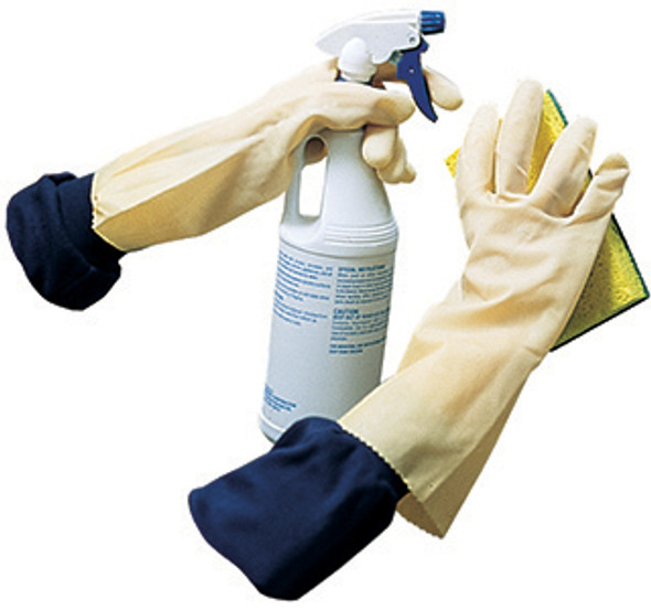 Gloves, Canners Gloves, Amber Color, Natural Rubber Unlined, Embossed Palm 18 Mil, Size Large, 12 pairs/bag  12 bags/case