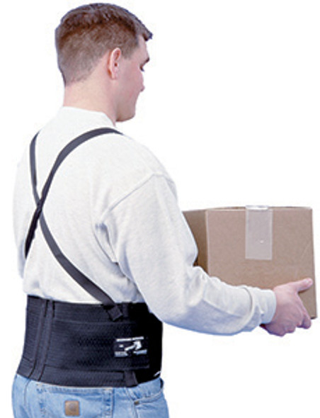 Safety Belt, with suspenders, velcro back, black color, size Extra Large, each