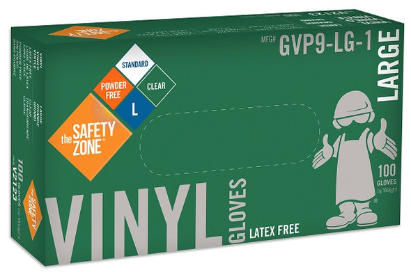The Safety Zone 3.6 mil Vinyl Gloves, Powder Free, Clear, Large
