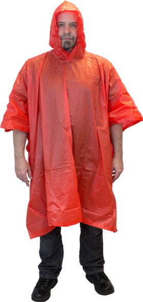 WP10-1P-RD Red One Piece Rain Poncho with Hood and Side Snaps