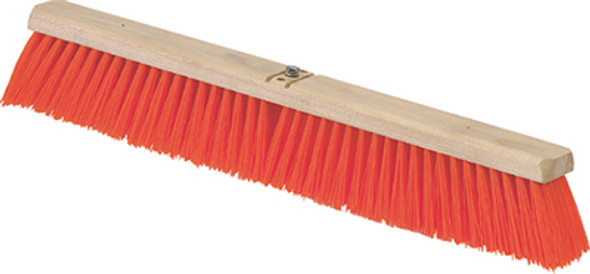 "Carlisle Flo-Pac Heavy Bristle Juno Style Push Broom Head 24"", Orange"