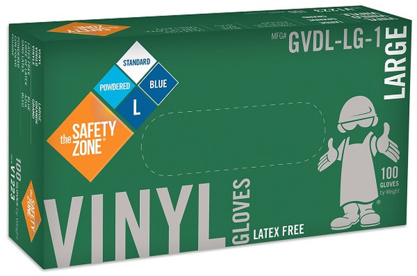The Safety Zone 3.6 mil Vinyl Gloves, Powdered, Blue, Large