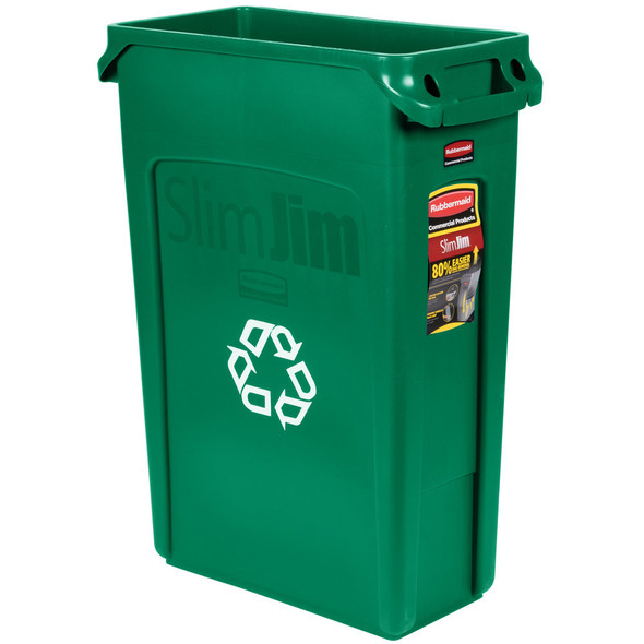 Rubbermaid Vented Slim Jim Recycling 23 Gallon, Green