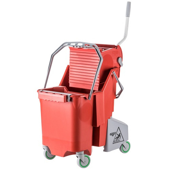 Unger CleaneRx 32 Qt Side Press Dual Compartment Mop Bucket, Red