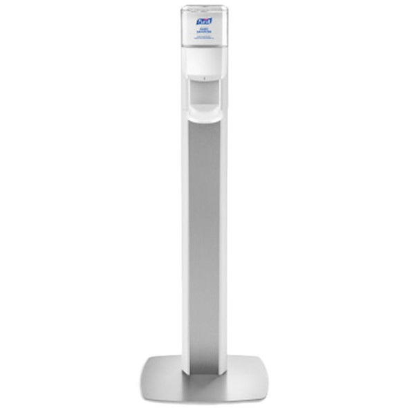 PURELL MESSENGER ES6 Silver Panel Floor Stand with Dispenser, White