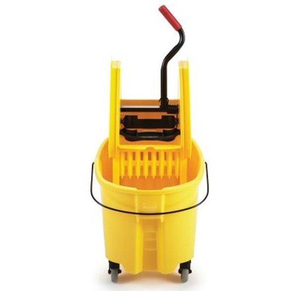 Rubbermaid WaveBrake 35 Qt Down Press Bucket and Wringer Combo, Yellow