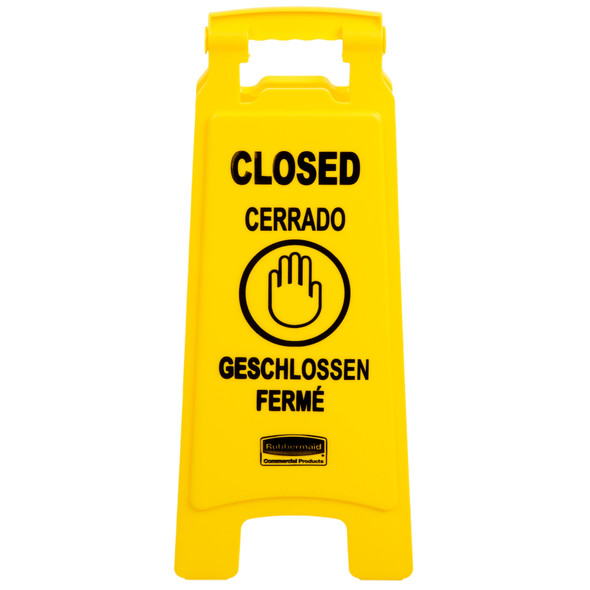 """FG611278 Floor Sign with Multi-Lingual """"Closed"""" Imprint, 2-sided"""