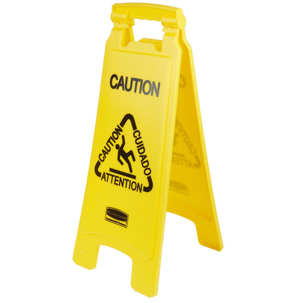 """FG611200  Floor Sign with Multi-Lingual """"Caution"""" Imprint, 2-Sided"""