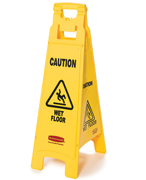 "Floor Sign with ""Caution Wet Floor"" Imprint, 4-Sided"