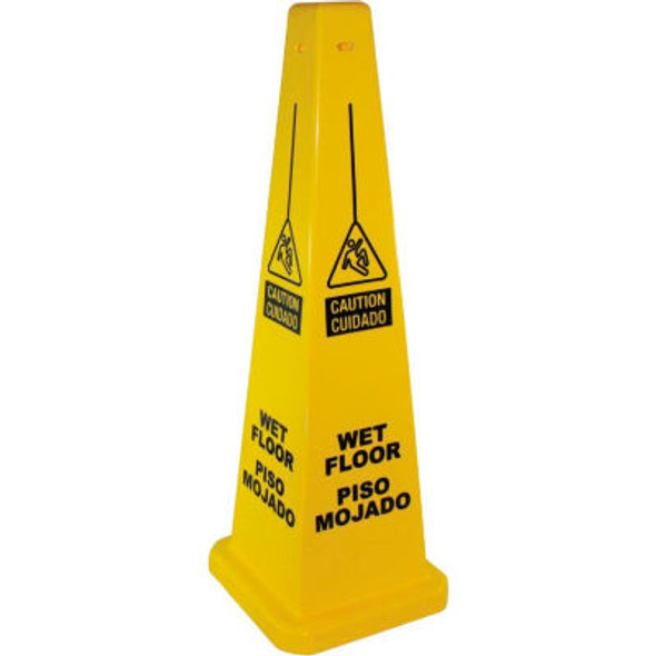"""23816 36"""" Four-Sided """"Caution Wet Floor"""" Sign English & Spanish"""