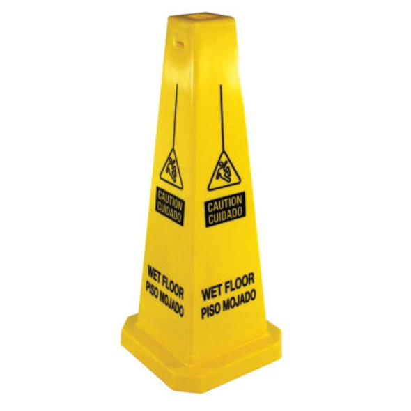 """23816 25"""" Four-Sided """"Caution Wet Floor"""" Sign English & Spanish"""