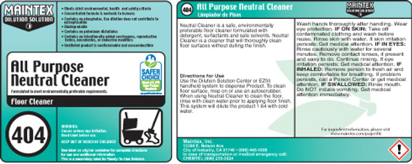 Spray Bottle Label for 404 All Purpose Neutral Cleaner