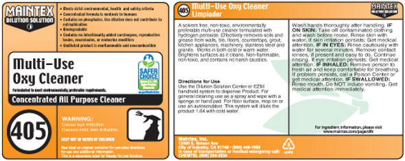 Spray Bottle Label for 405 Multi Use Oxy