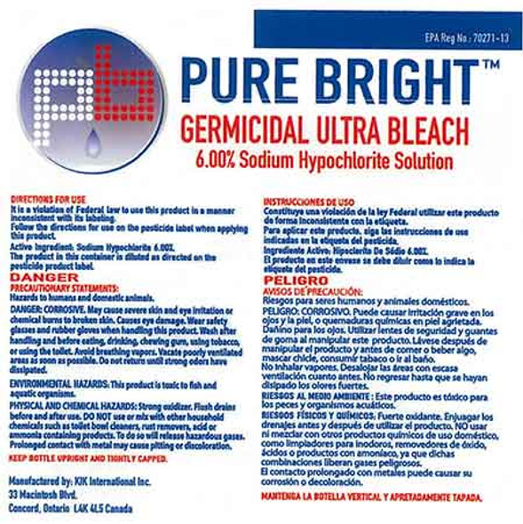 Spray Bottle Label for Pure Bright Germicidal Ultra Bleach